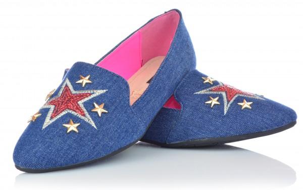 Damen Mädchen Ballerinas Slipper Slip-On Halbschuhe Jeansoptik Stickerei 36-41