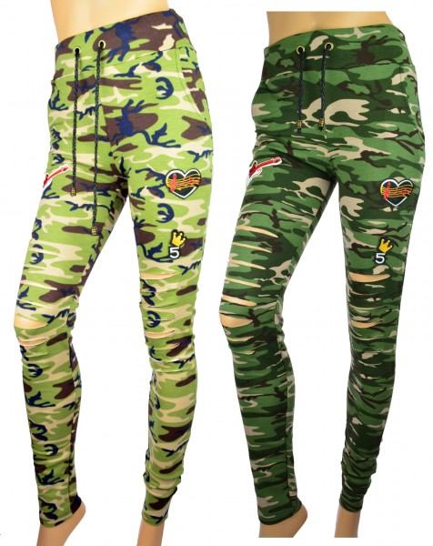 Damen Mädchen Camouflage Leggings Used Look Schlitze Patches Röhren Tarnung Camo