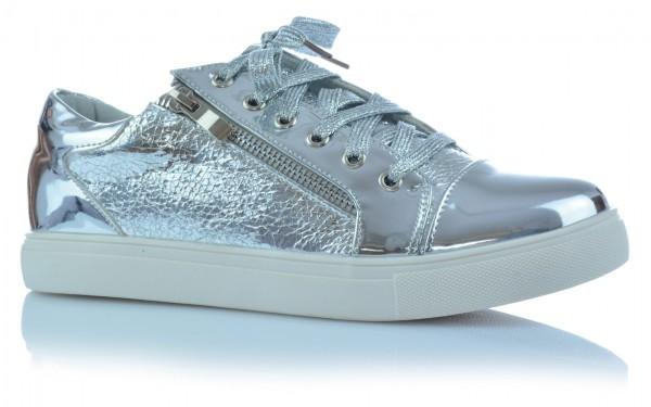 Freizeitschuhe Damenschuhe Mädchen Low Top Sneaker Metallic Gold Silber Glanz
