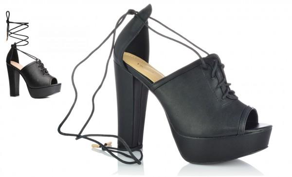 Damenschuhe Pantoletten Sandaletten Plateau Peep Toe Sandalen Leder-Optik