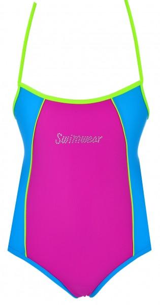 Mädchen Badeanzug Einteiler Schwimmanzug Badekostüm verstellbare Träger 98-140