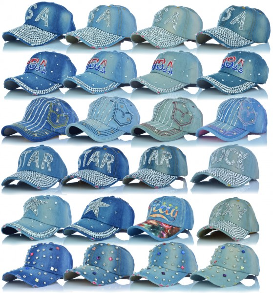 Jeans Cap Baseball Caps Mütze Destroyed Used Look Kappe Strasssteine USA ROCK