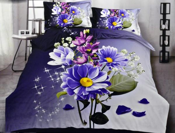 4-tlg. Bettwäsche-Set Bettgarnitur Bettbezug 200 x 220 cm Baumwolle