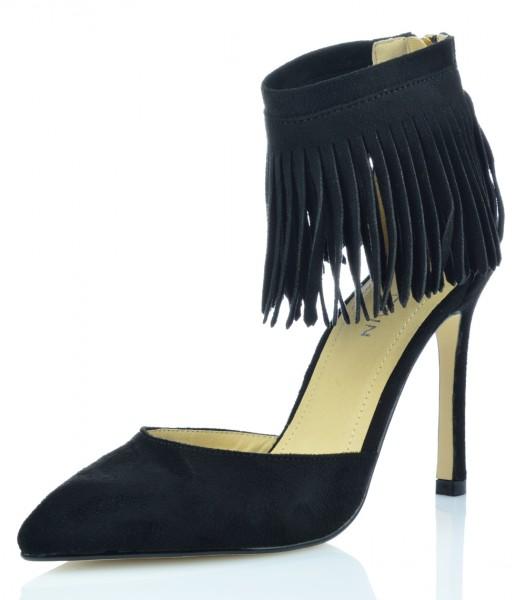 High Heels Stiefeletten Ankle Boots Pumps Abendschuhe Wildleder-Optik Fransen