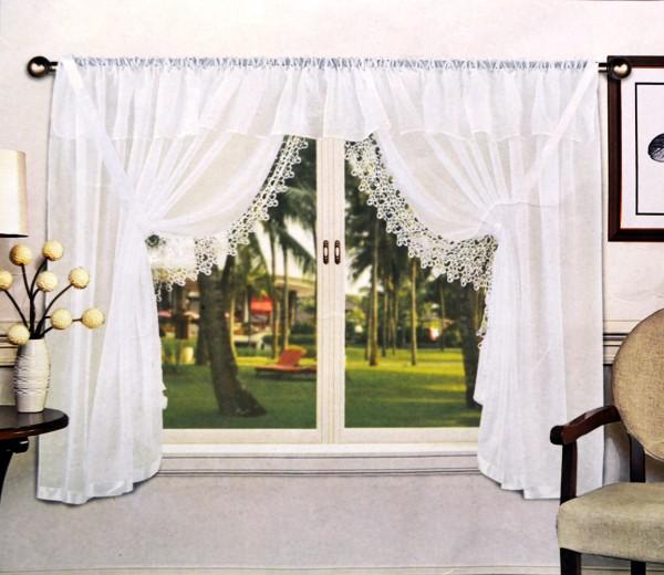 Fertiggardinen Fenstergardinen Gipürespitze Faltenband Kräuselband Voile 400x150