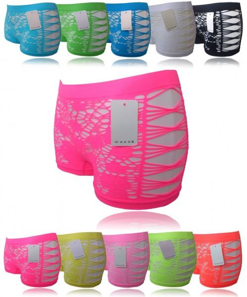 2x Damen Hotpants Hipster Boxershorts Panties Risse Schlitzen Netz S/L GoGo Neon