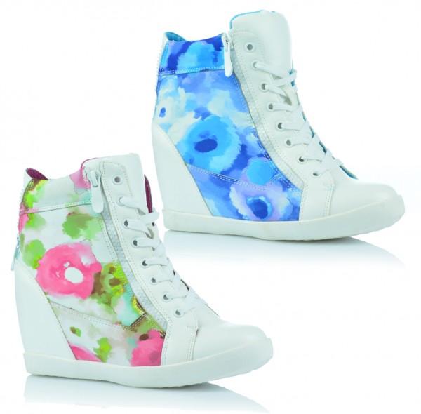 High Top Damenschuhe Sneaker Freizeit Knöchelschuhe Keilabsatz Blumen Sommer