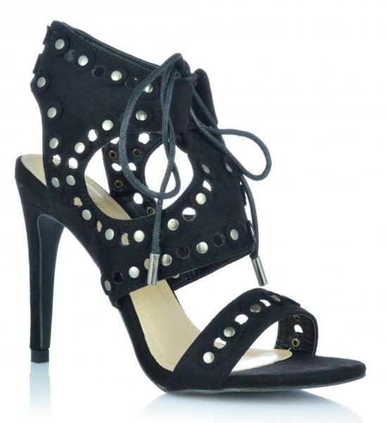 Sandalen High Heels Stiletto Wildleder-Optik Nieten Abendschuhe Damenschuhe