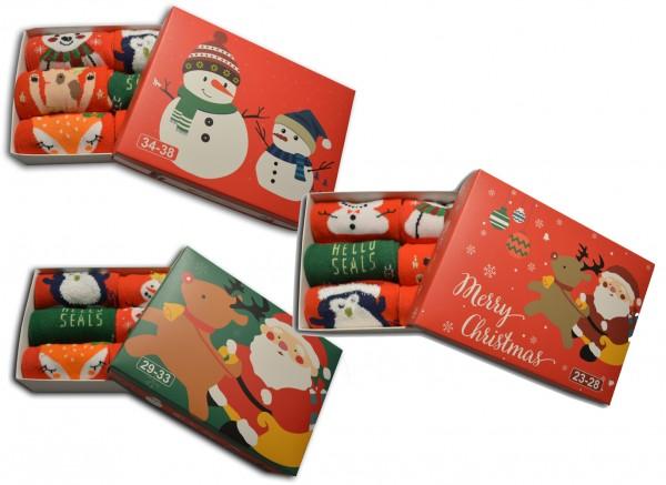 6 Paar Kinder Damen Weihnachtssocken mit Geschenkbox 23-28 29-33 34-38