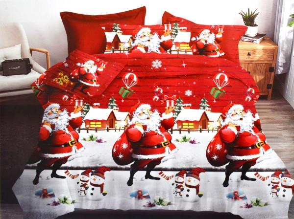 4-tlg. Bettwäsche-Set Weihnachtsbettwäsche 160 x 200 cm Bettgarnitur Baumwolle