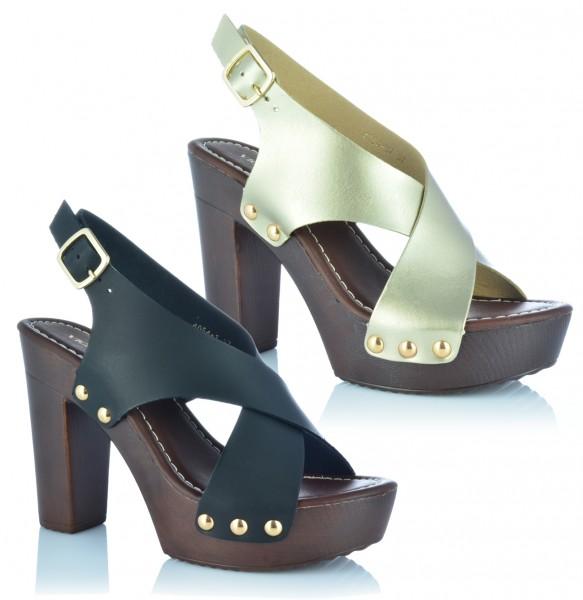 Damenschuhe Pantoletten Sandaletten Plateau Peep Toe Sandalen Holz-Optik