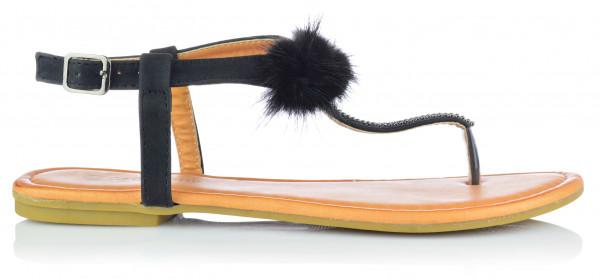 Damen Sandalen Sandaletten mit Strass und Bommel Zehentrenner Gr. 36-41