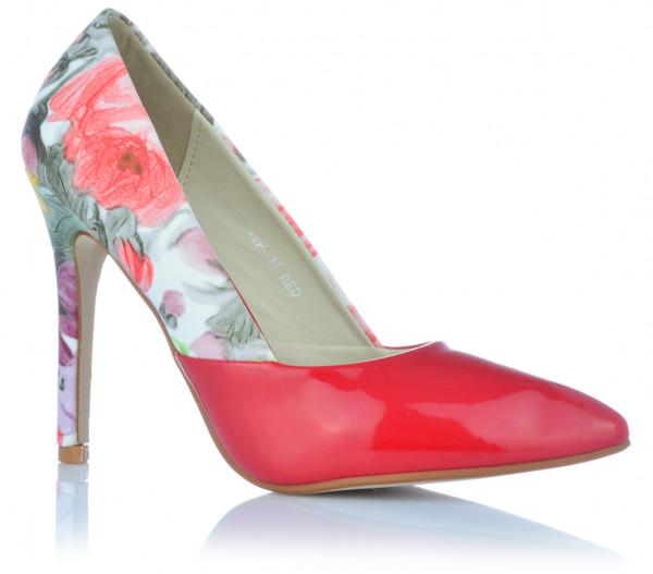 High Heels Stiletto Pumps Abendschuhe mit Ledereinlagen Lack-Optik Print Blumen