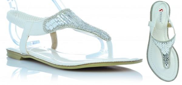 Sommer Sandalen Sandaletten Lack Schuhe Zehentrenner mit Glitzer Strasssteine