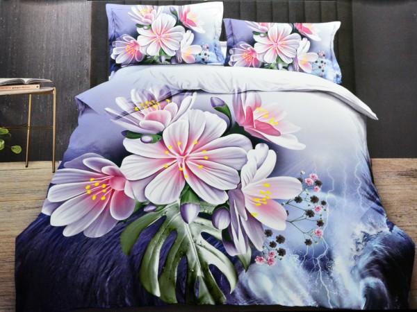 4-tlg. Bettwäsche-Set Bettbezug Bettgarnitur 200 x 220 cm Baumwolle