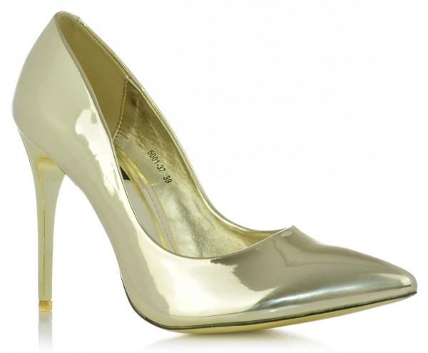 High Heels Stiletto Pumps Abendschuhe Metallic Lack-Optik Glanz Damenschuhe