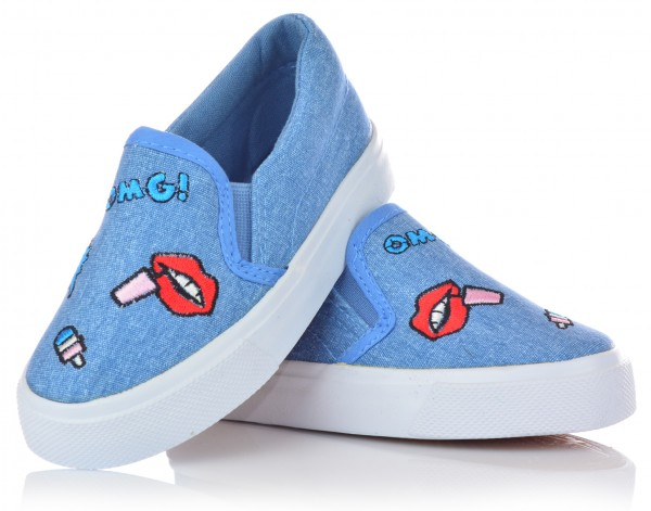 Mädchen Sneaker mit Stickerei Slipper Halbschuhe Jeansoptik Mokassins Gr. 24-29