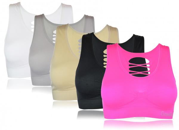 Damen Trägertop Bustier Sport Fitness Soft BH mit Schlitzen Risse S/M L/XL