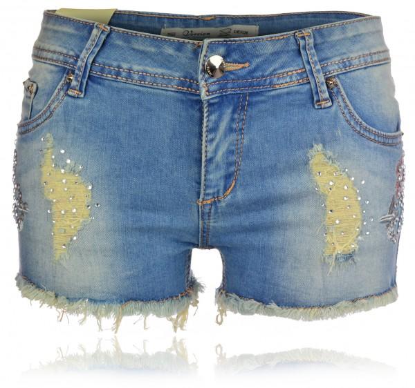 Damen Jeans Shorts Hotpants Used Look kurze Hose Strasssteine Hüfthose