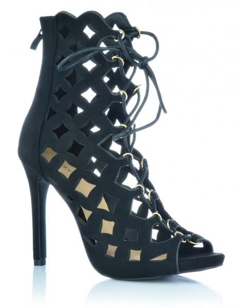 High Heels Stiefeletten Ankle Boots Pumps Abendschuhe Wildleder-Optik Sandalen