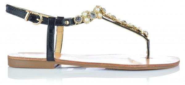 Damen Sandalen Sandaletten mit Strasssteine Zehentrenner Gr. 36-41