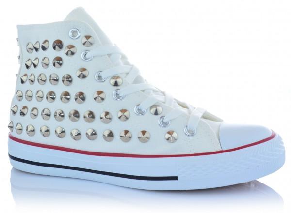 Damen High-Top Sneaker Freizeitschuhe Knöchelschuhe Nieten Gr. 36-41