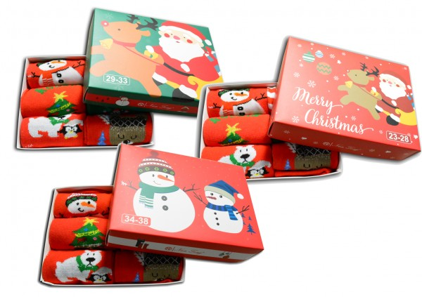 6 Paar Weihnachtssocken mit Geschenkbox Socken 23-28 29-33 34-38