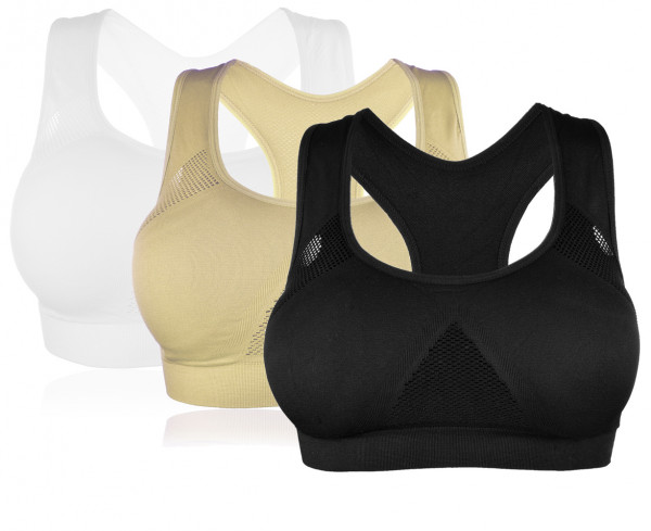 Bügellos Bustier Sport Fitness Soft BH mit Einlagen Trägertop M/ L XL/ XXL