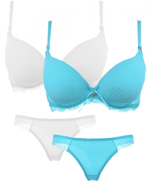 70 75 80 Cup B Push-Up BH + String Wäsche Set Dessous Reizwäsche Strassstein