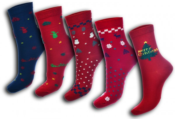 5 Paar Kinder Damen Weihnachtssocken 35-38 38-41