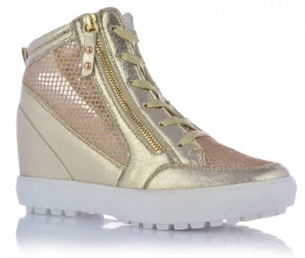 Damenschuhe Keilabsatz High Top Sneaker Strasssteine Glitzer Knöchelschuhe Netz