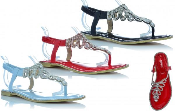 Sandalen Sandaletten Lack Schuhe Zehentrenner mit Glitzer Strasssteine Sommer