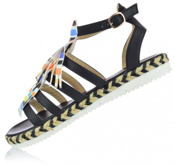 Damen Römersandalen Sandaletten mit Fransen Sommerschuhe Gr. 36-41