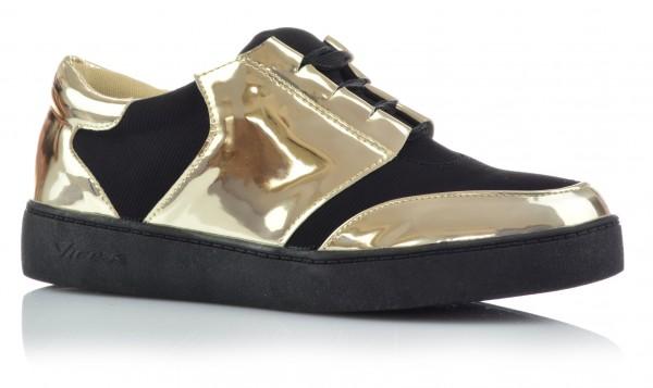 Damenschuhe Mädchen Low Top Sneaker Metallic Gold Silber Glanz Freizeitschuhe