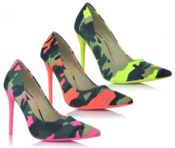 Camouflage High Heels Stiletto Pumps Neonfarben Abendschuhe Party Tarnung 35-40