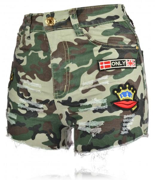 Damen Camouflage Shorts Tarnung Hotpants Used Look kurze Hose XS-XL